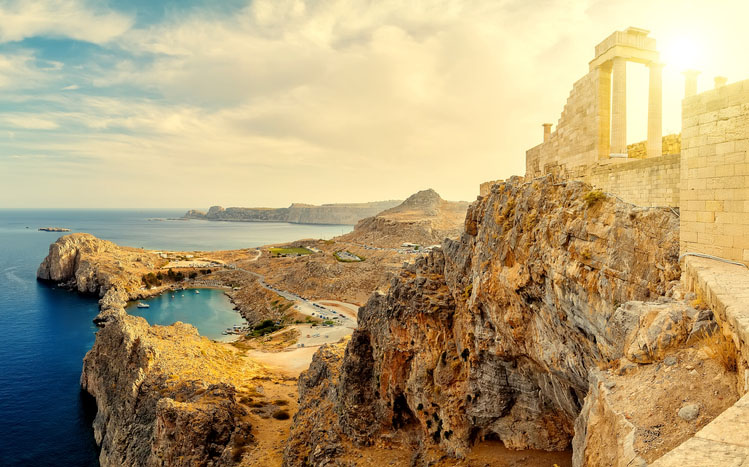 Acropolis of Lindos on the island of Rhodes at sunset