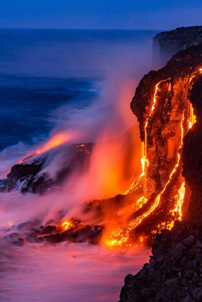 Lava flows into the ocean on Big Island in Hawaii