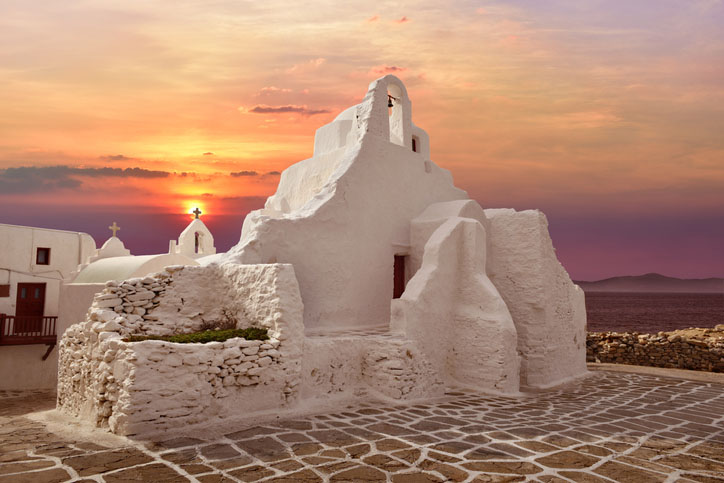 A 14th century Paraportiani Church on the island of Mykonos, Greece