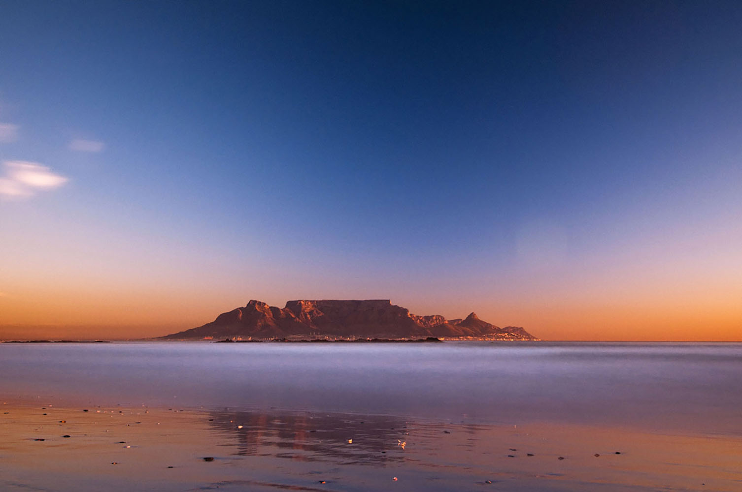 Cape Town's Table Mountain at sunset.