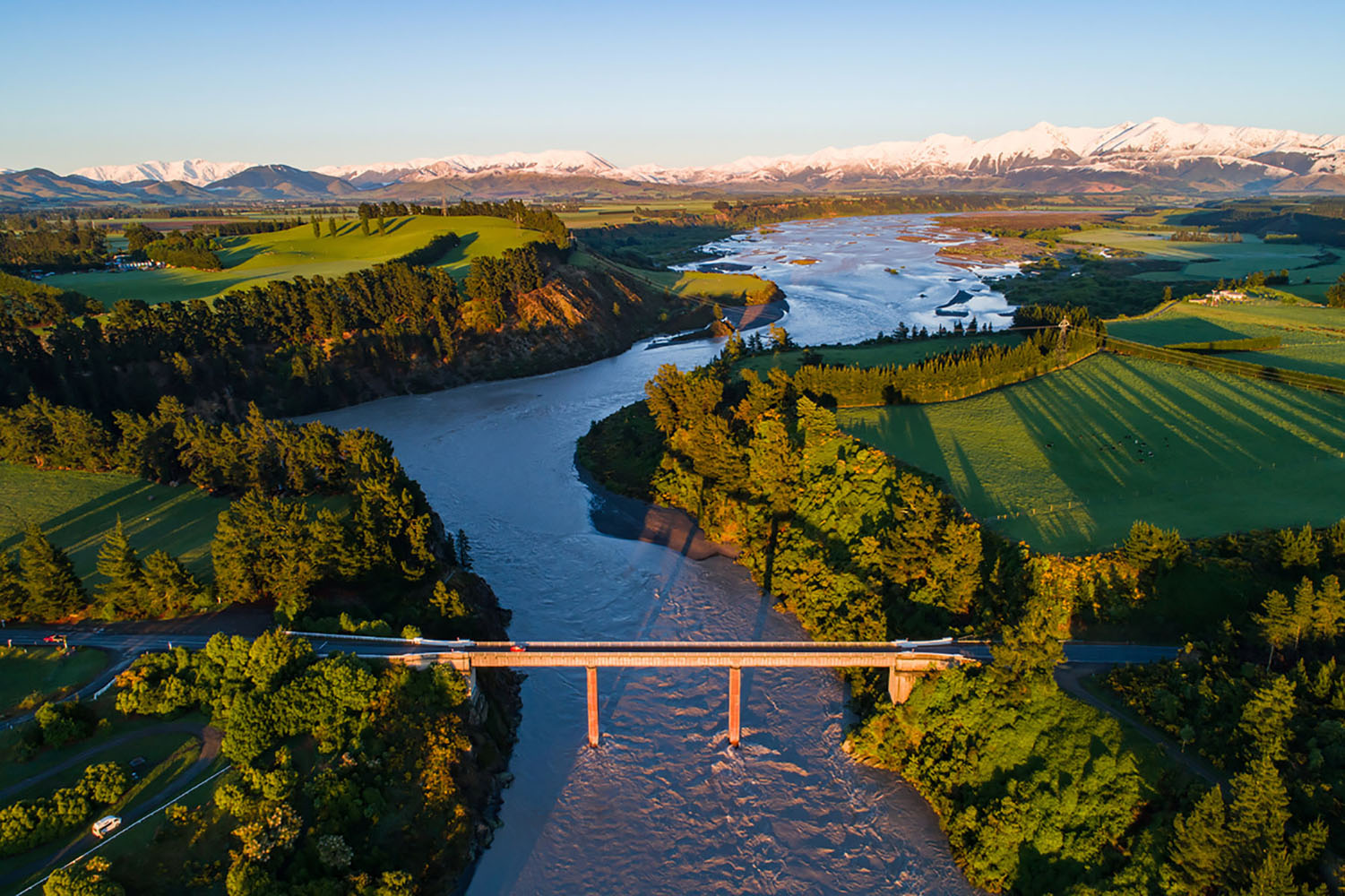 Early sunlight over Waimakariri River