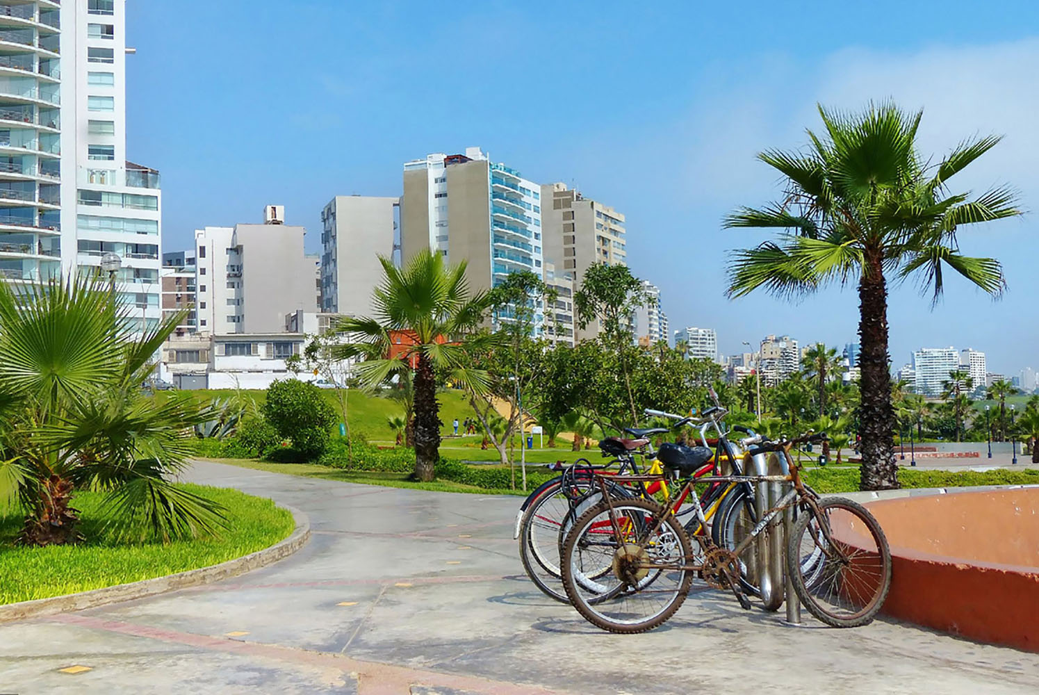 Bicycles for rent in the Miraflores park in Lima, Peru