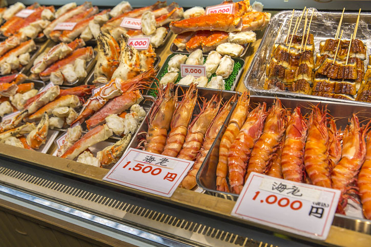 Fresh seafood at Kuromon Ichiba in Osaka, Japan