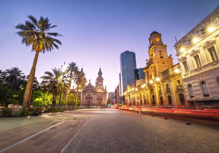 Plaza de Armas Square and Santiago Metropolitan Cathedral in Chile at night