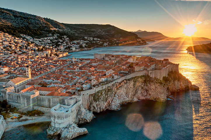 Beautiful sunrise over Dubrovnik's Old Town