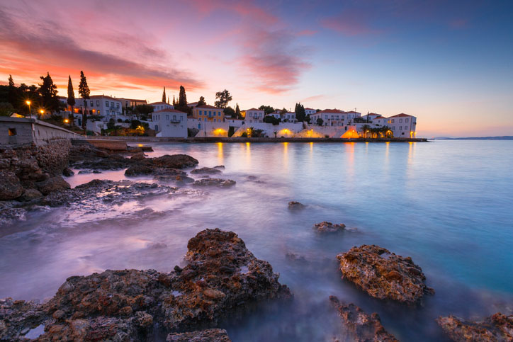 Spetses, Greece in the early evening