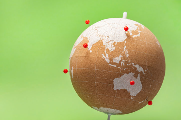 A cork globe with pins indicating destinations visited.
