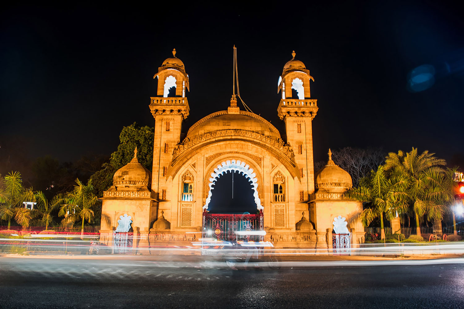 Heritage gate of Rajmahal (Laxmi Vilas Palace) in Vadodara, Gujarat at night