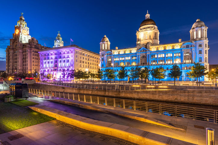 Liverpool Skyline highlighted by the Three Graces