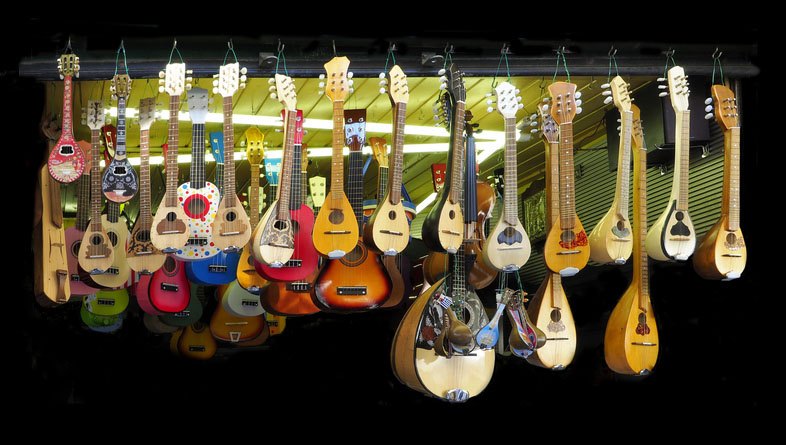 Stringed Musical Instruments on Display in Greece