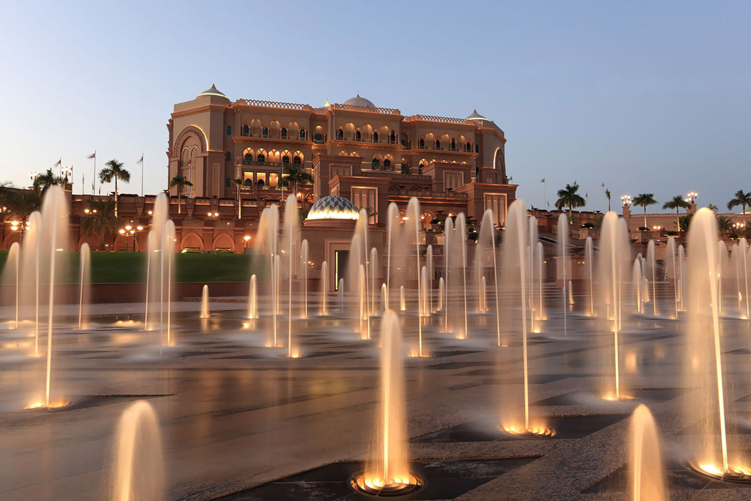 The exterior of The Emirates Palace in Abu Dhabi
