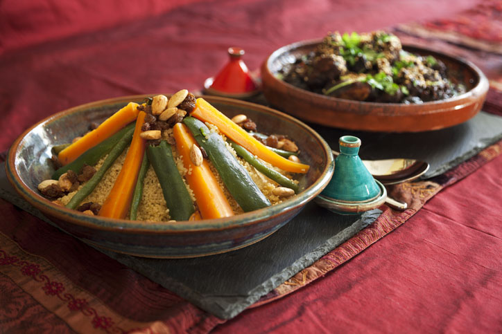 Vegetable couscous and Meat Tagine