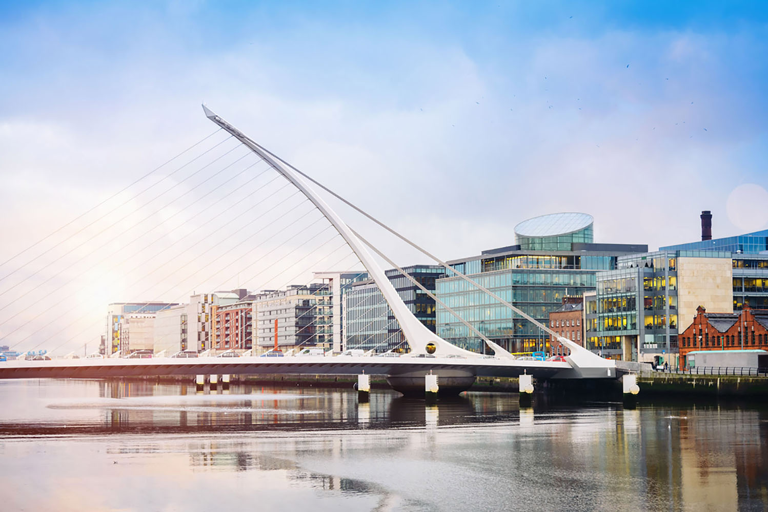 Samuel Beckett Bridge in Dublin has a harp-inspired shape.