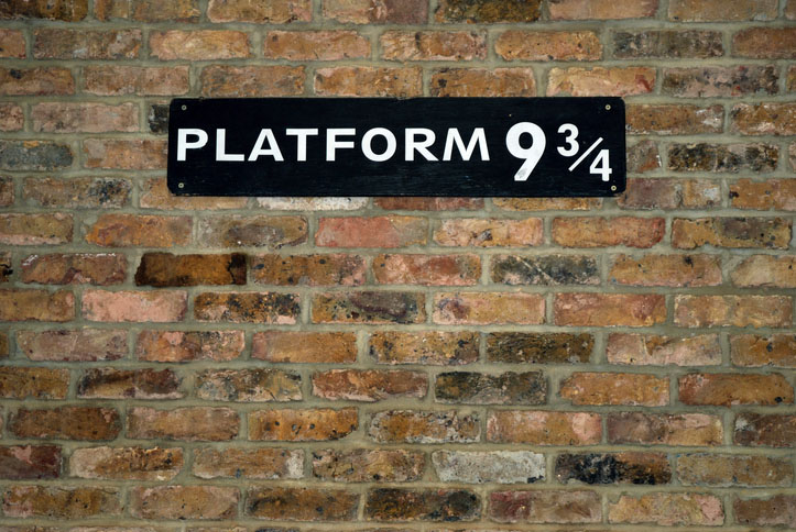 The platform at King's Cross Station in London made famous by the Harry Potter Books.