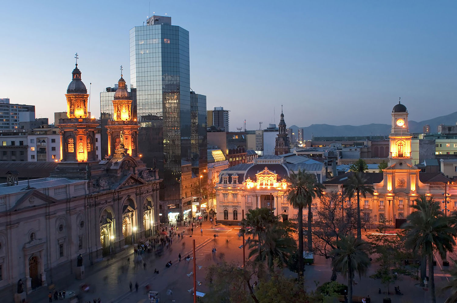Plaza de Armas at sunset in Santiago, Chile