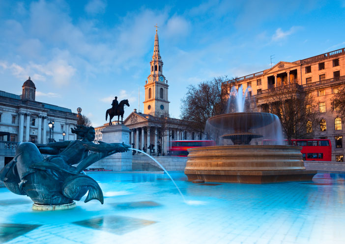 London, fountain on the Trafalgar Square with St. Martin on Fields behind