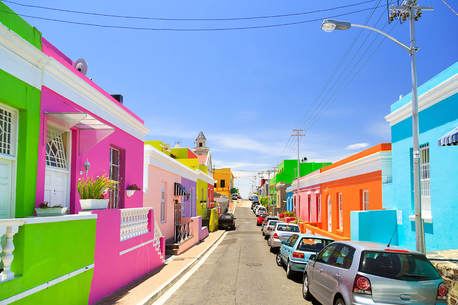 The colorful houses in Cape Town's Bo-Kaap neighborhood.