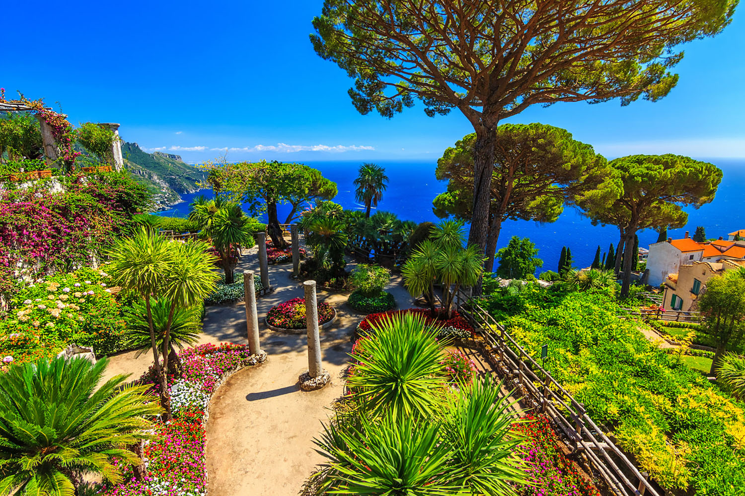 Ornamental garden with colorful flowers in Ravello, Italy