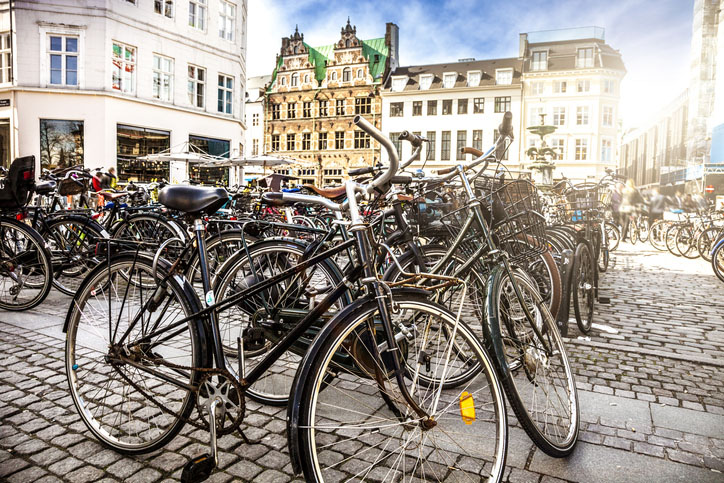 A Copenhagen town square with bicycles parked