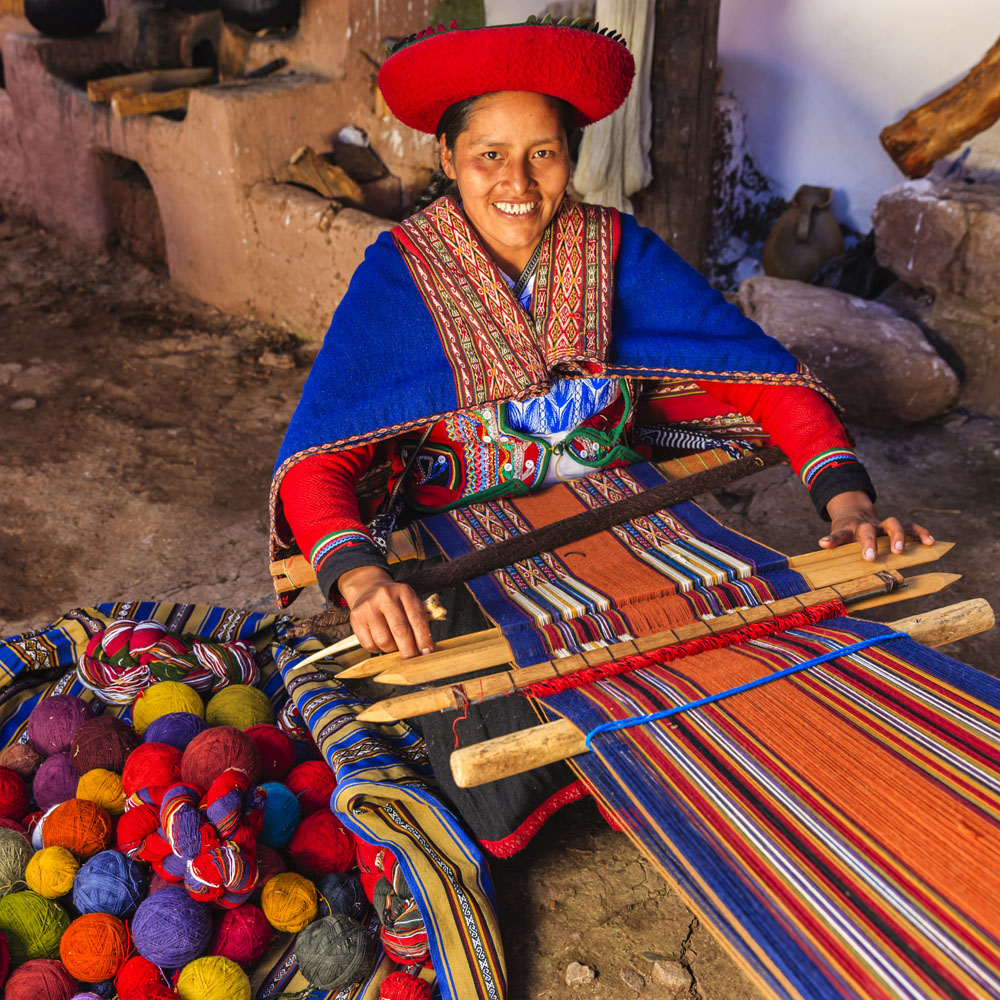 Peruvian woman weaving