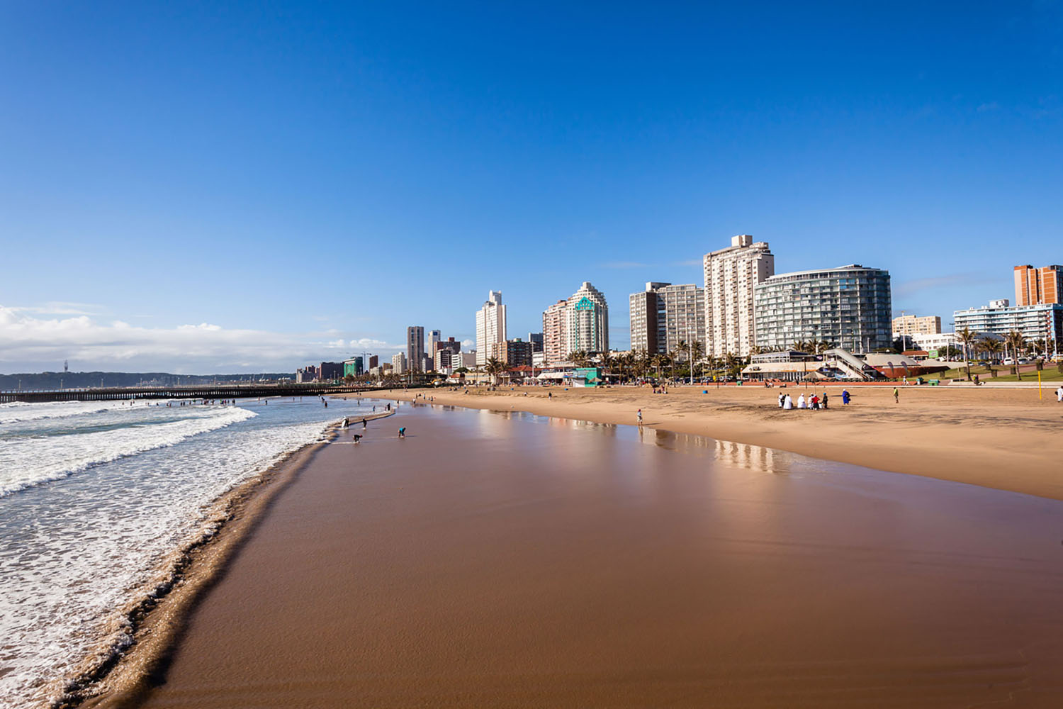 The beach and skyline in Durban, South Africa.