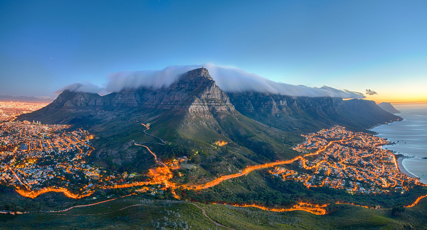 Table Mountain towers over Cape Town in South Africa