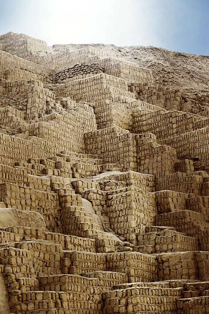 The great adobe and clay pyramid Huaca Pucllana in Lima, Peru