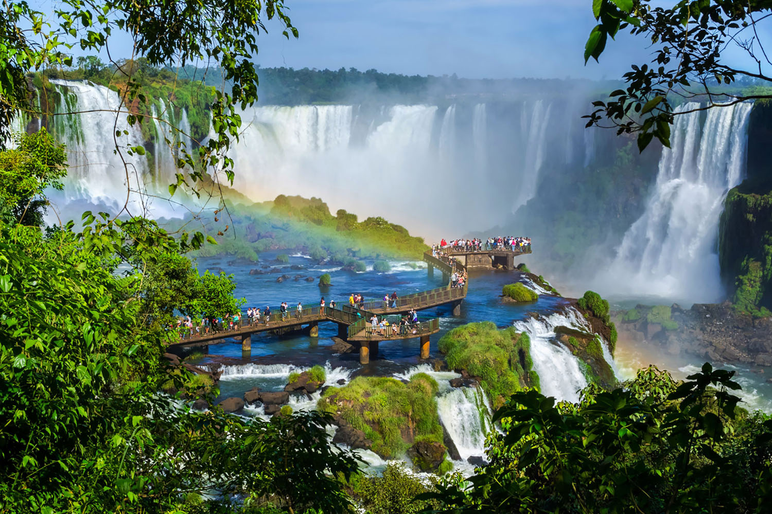 Iguazu Falls near the border of Argentina and Brazil.