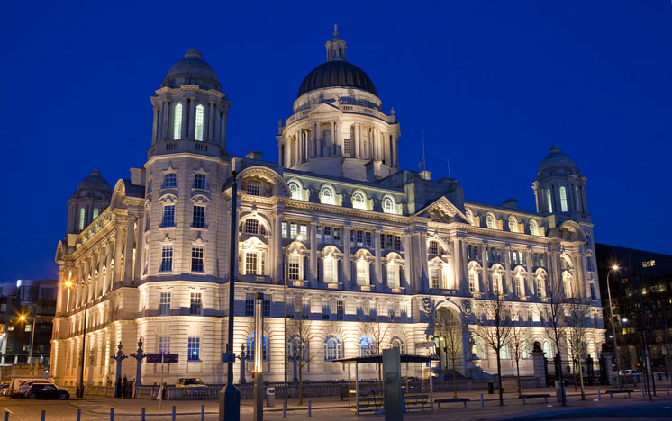Port of Liverpool Building in the evening