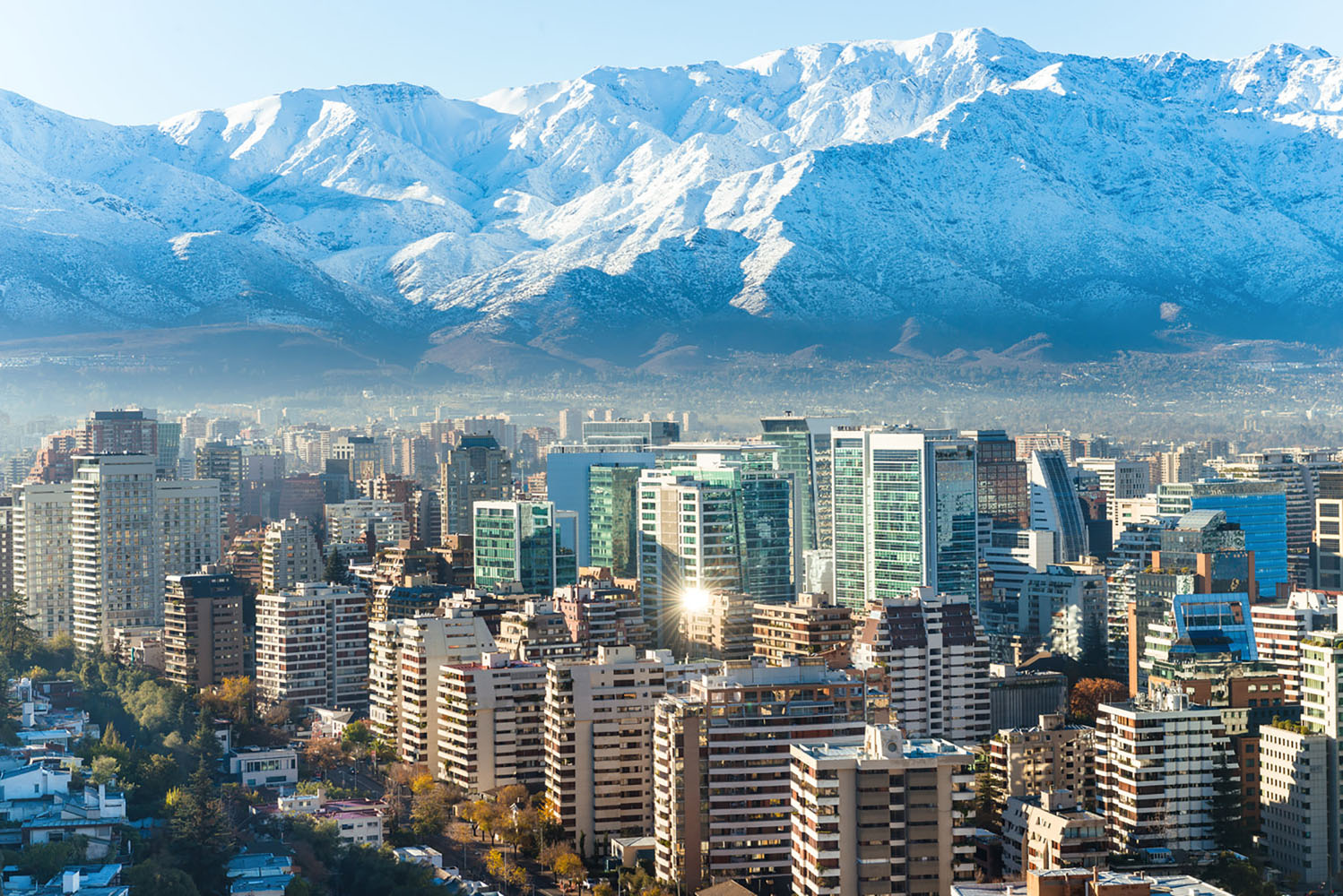 A skyline and mountain-range view of Santiago, Chile.