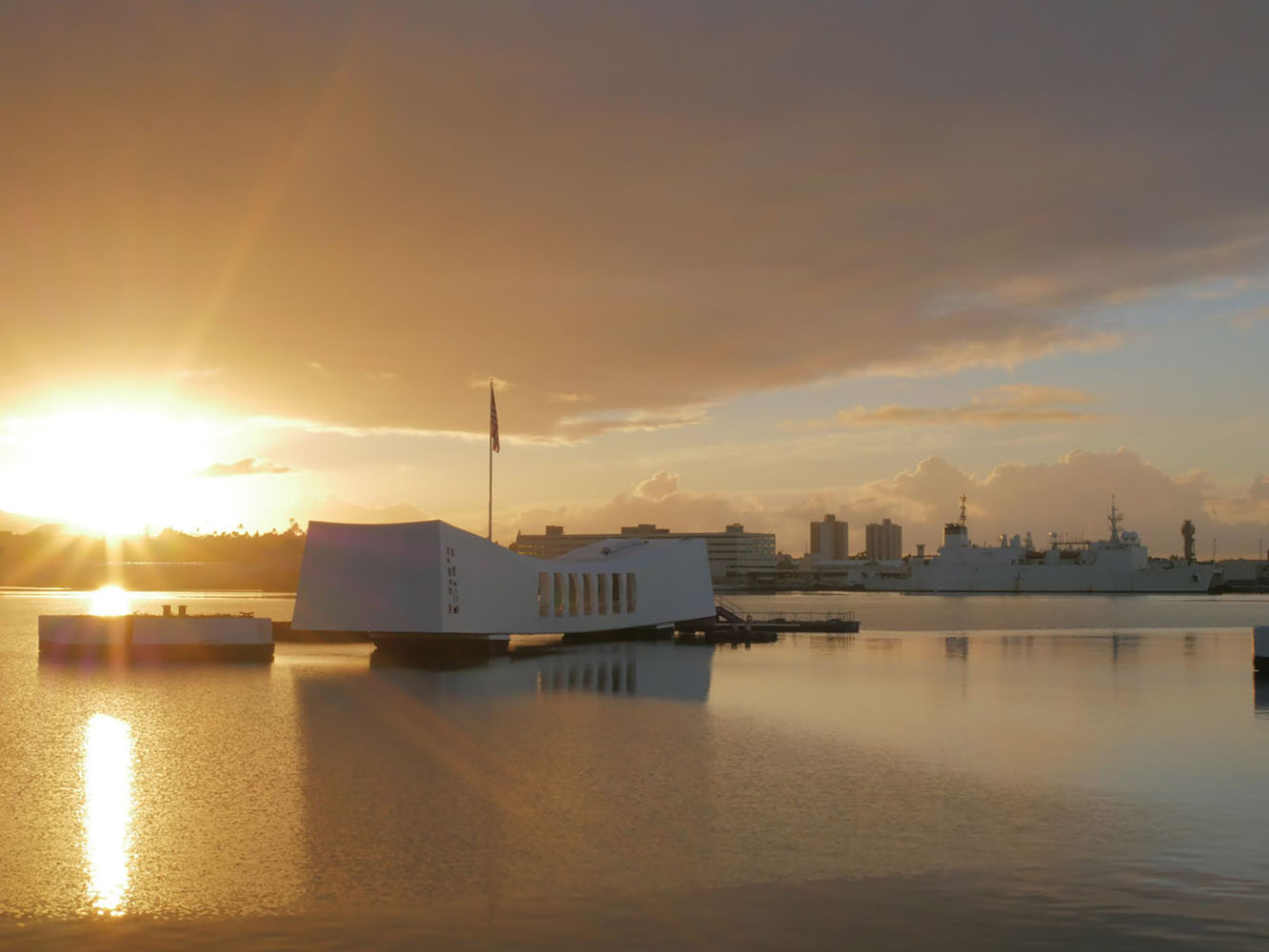 The USS Arizona Memorial at sunrise