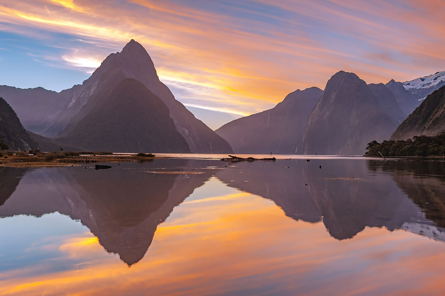 Milford Sound, South Island, New Zealand at golden hour