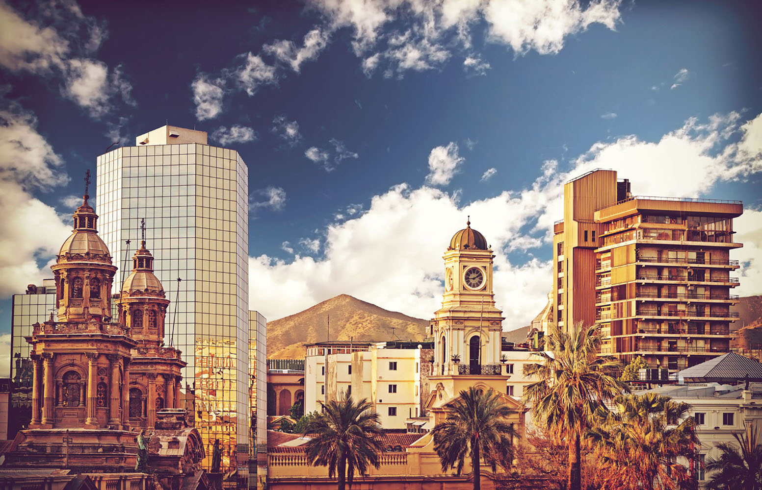 The diverse architecture of Santiago, Chile on a nice day