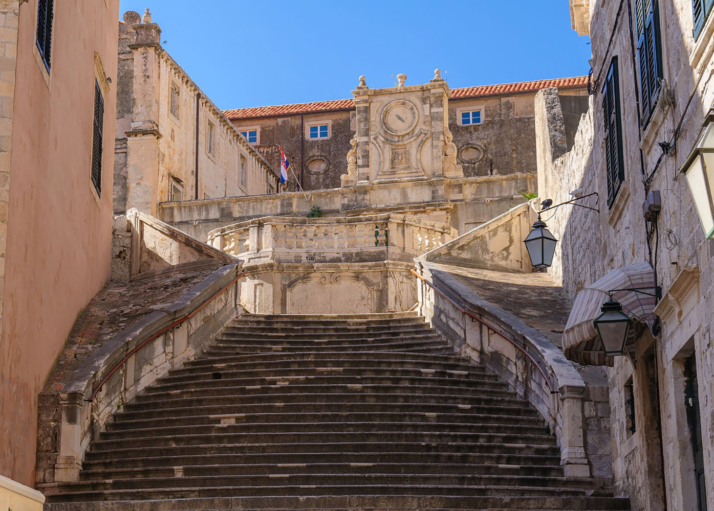 A staircase leading to the Jesuit Church of St. Ignatius Loyola in Dubrovnik
