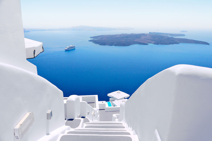 White wash staircases on Santorini