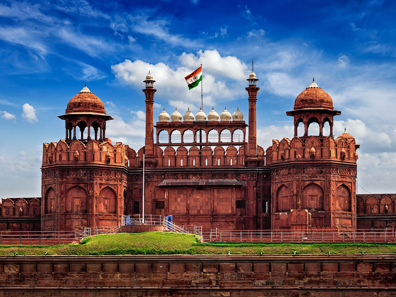The Red Fort (Lal Qila) in Delhi with the flag of India flying from the roof