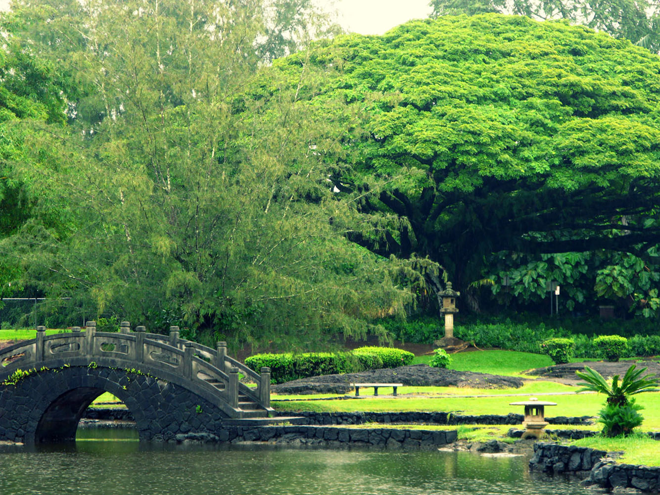 The Japanese gardens at Liliu'okalani Gardens in Hilo