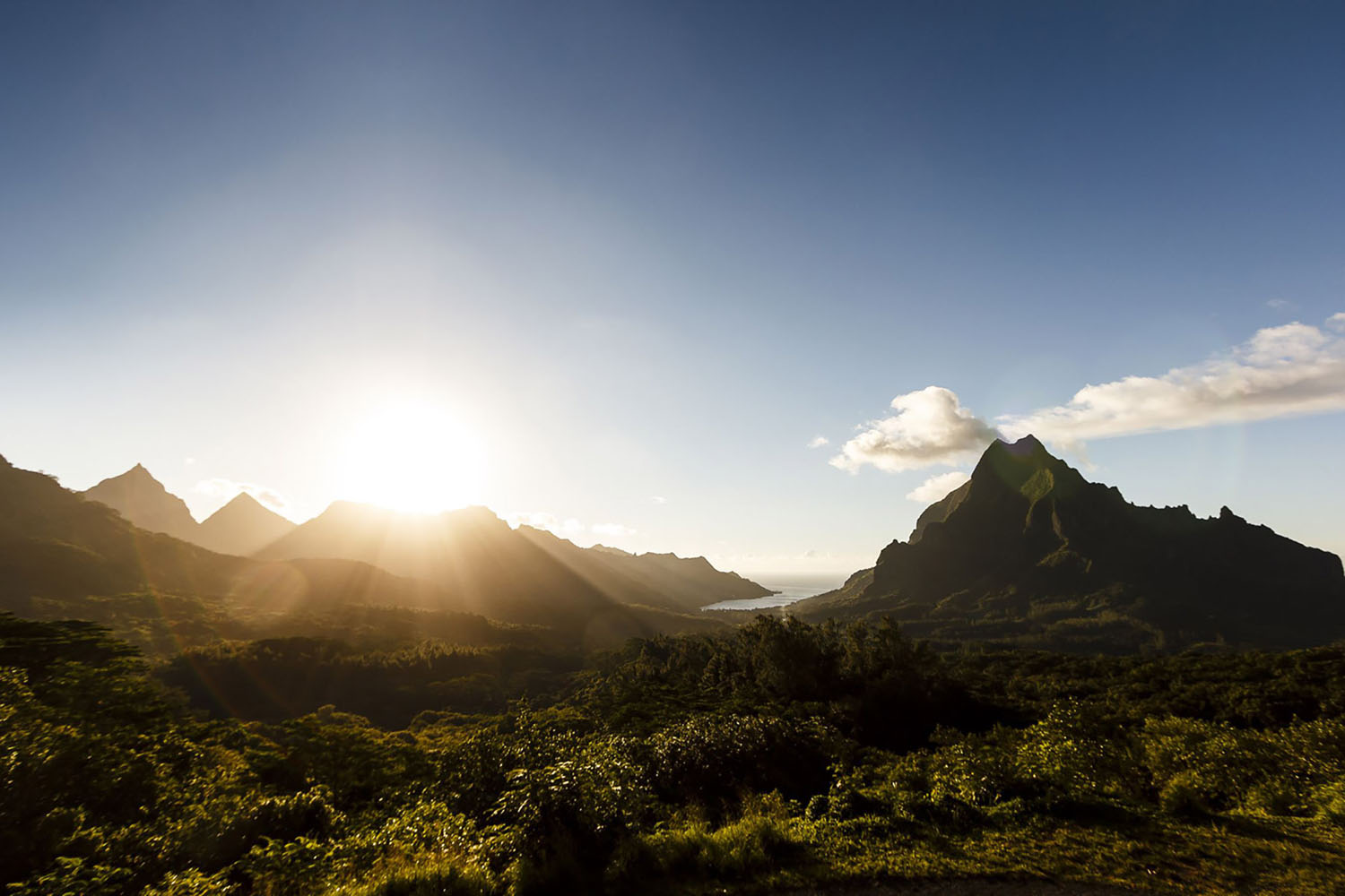 A sunset view from Belvedere Lookout in Moorea, French Polynesia