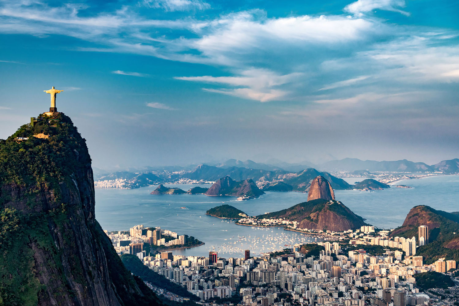 Aerial view of Rio De Janeiro. Brazil in South America with statue of Christ the Redeemer