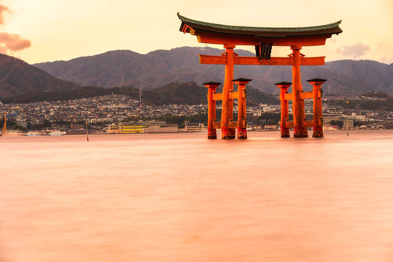 Miyajima, The famous Floating Torii gate, in the early evening..