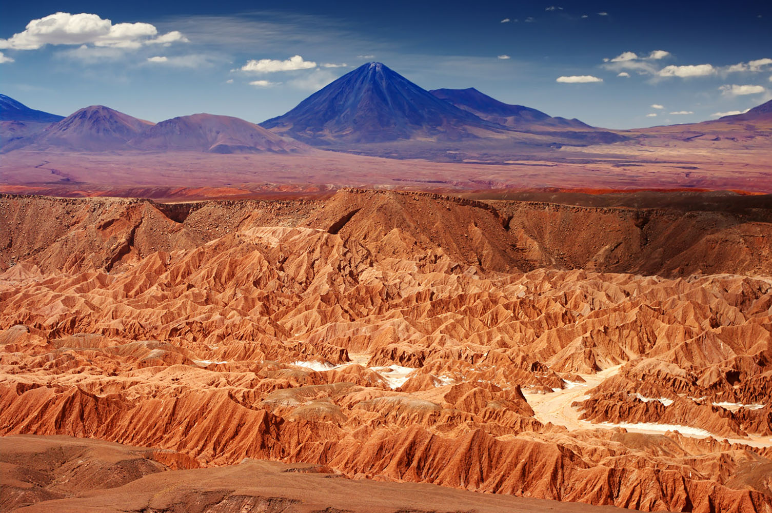 Red mountains in Chile's Atacama Desert.