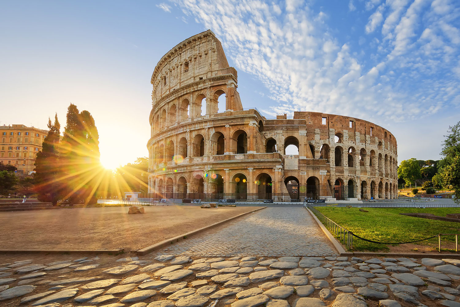 The Colosseum in Rome in the early morning sun