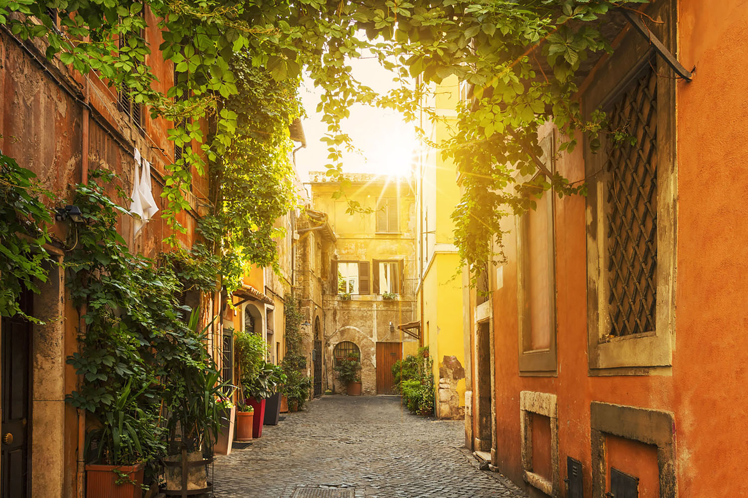 A quiet street in Rome's Trastevere neighborhood.