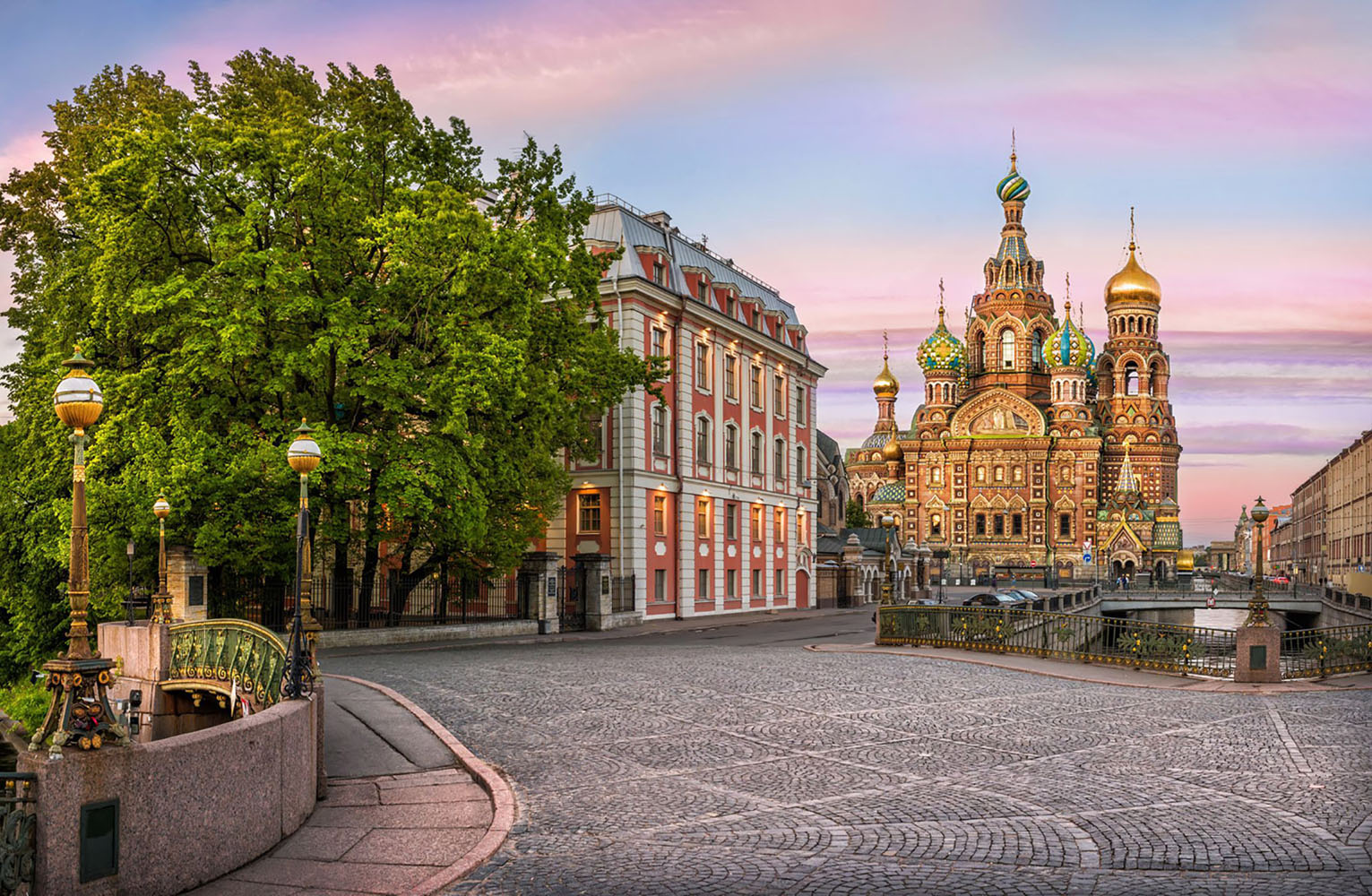 A cobblestone street near the Cathedral of the Savior on Spilled Blood in St Petersburg
