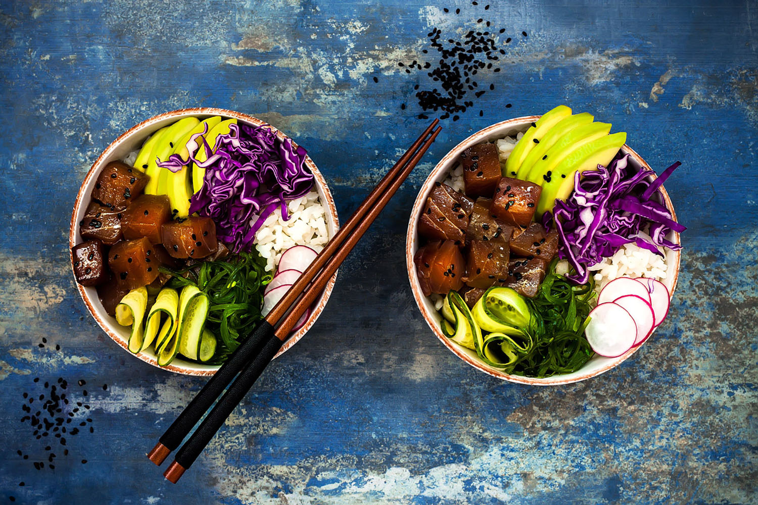 Two bowls of poke—a Hawaiian favorite