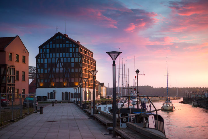 Sunset over the harbor in Klaipeda, Lithuania.