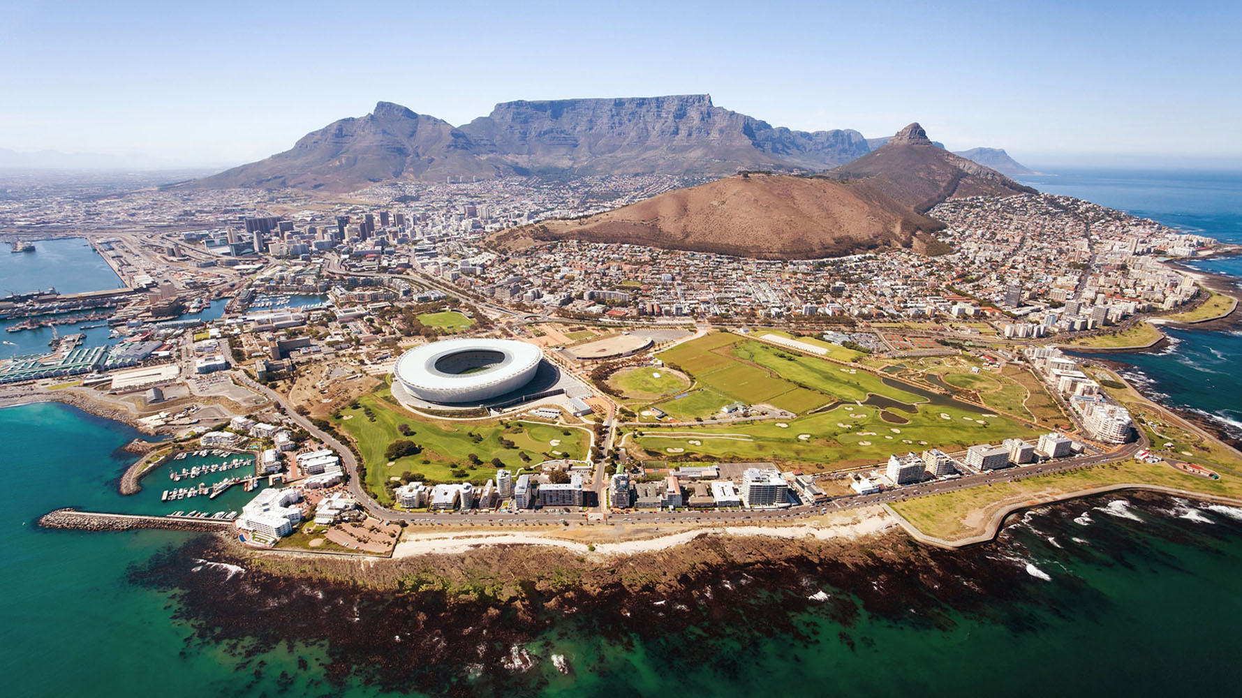 An aerial shot of Cape Town, South Africa.