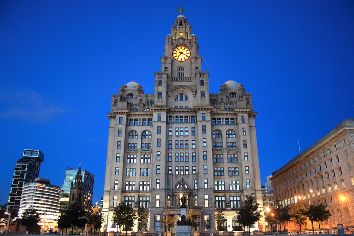 Royal Liver Building in the evening