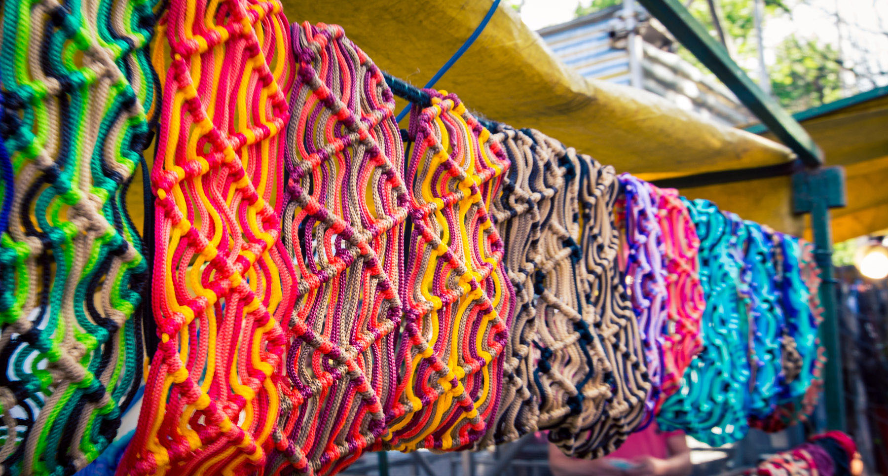 Row of colorful fabric at a market in Buenos Aires