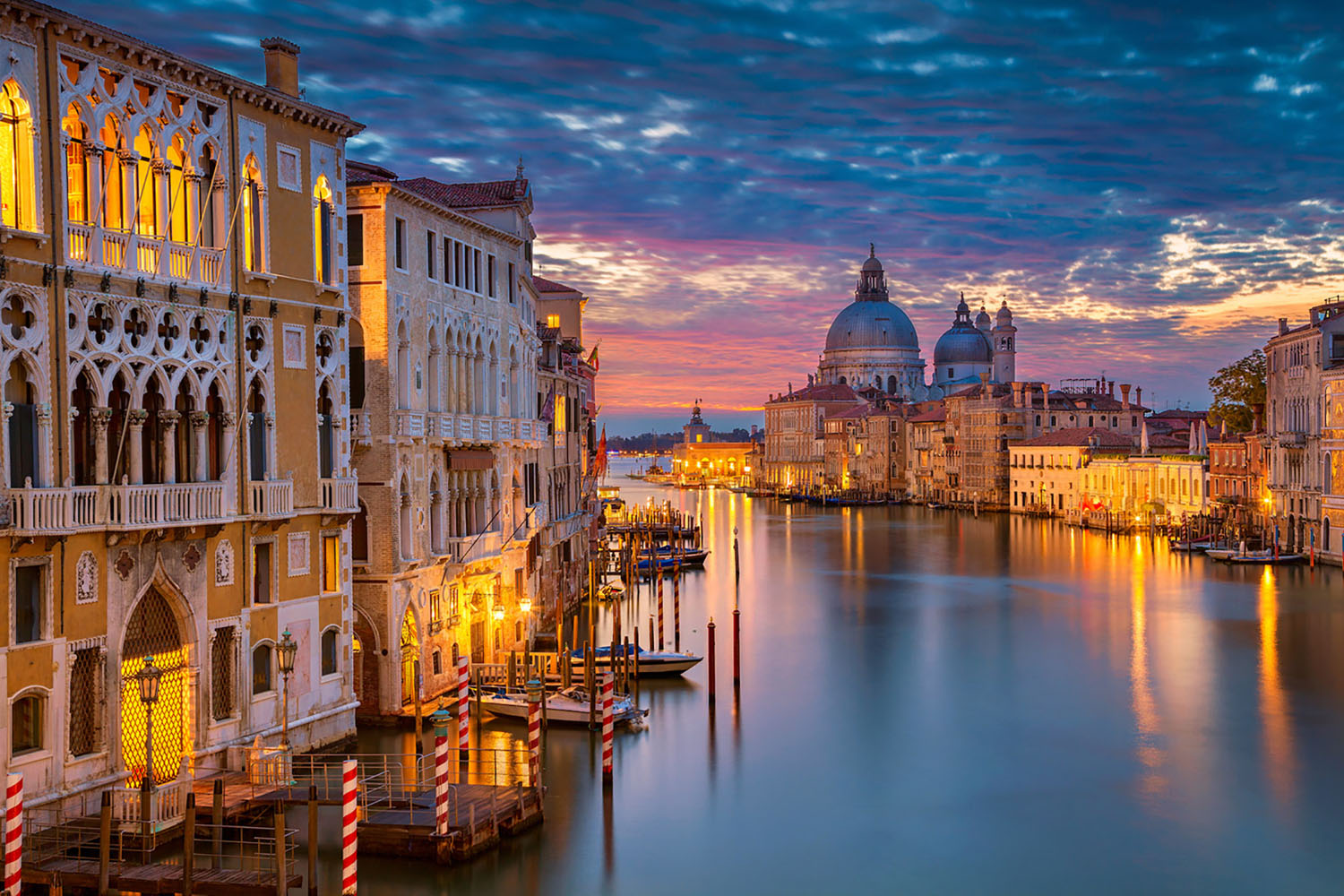 Venice's Grand Canal at dusk.